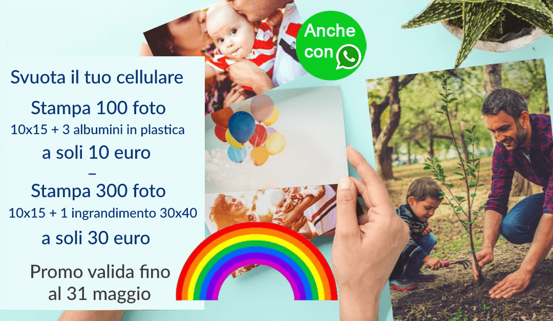 A Maggio stampiamo arcobaleni! Vieni a stampare le tue foto!